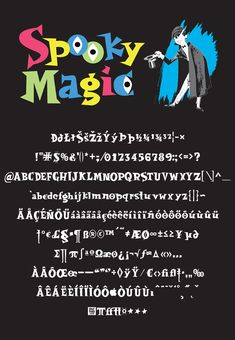 """Based on the logotype for the 1963 edition of """"Spooky Magic"""", by Larry Kettelkampx and released through the Scholastic Book Club – 253 glyphs, 4 weights. Glyphs, Weights, Larry, My Friend, Fonts, Nerd, This Book, Magic, Writing"""