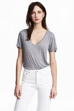 Silk-blend top - Grey marl - Ladies | H&M GB