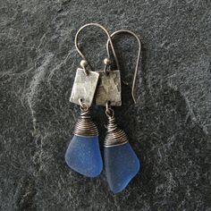 Sea Glass Jewelry Earrings Seaglass Cornflower by MonicaBranstrom, $75.00