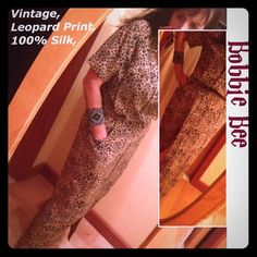 Vintage Silk Leopard MaxiDress Button Front Belted 100% Silk. Great dress that you can leave open at the top & bottom-- or not:) Feels great on. Even has pockets!!! Bobbie Bee Dresses Maxi