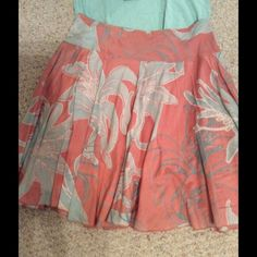 """Peach and blue flare skirt. DKNY flare skirt, size 4, 21"""" from waist to hem, peach and teal blue, very comfortable, fully lined, excellent condition. DKNY Skirts"""
