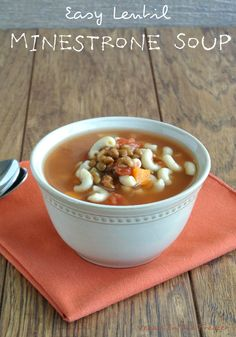 Easy Lentil Minestrone Soup is a little bit of a change-up from original minestrone soups in that it uses lentils instead of beans. Easy, easy, easy.