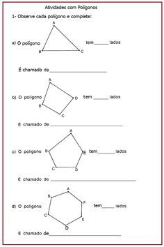 Atividades com polígonos  |   Rérida Maria Kumon, Math About Me, Basic Math, Math Concepts, Geometric Shapes, Professor, Teaching, Alice, Curiosity