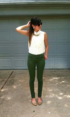Fall Casual Brunch outfit White top and green pants