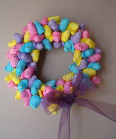My first peep wreath. Note: let it dry before you hang it. Otherwise, it poops peeps all over the place!