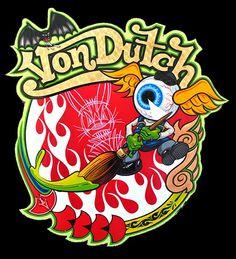 Von Dutch the guru of custom paint Estilo Cafe Racer, Ed Roth Art, Pinstripe Art, Pinstriping Designs, Von Dutch, Rat Fink, Garage Art, Airbrush Art, Lowbrow Art