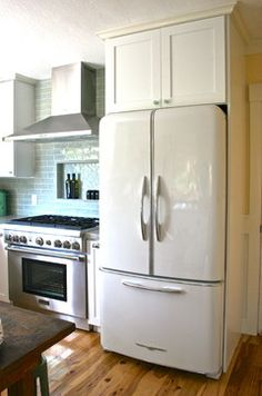 "DREAM appliances!!! I really love this refrigerator in ""bisque."" It's Elmira Stoveworks."