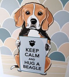 Keep Calm Beagle with KhakiGray Scaled Background by AfricanGrey, $15.00