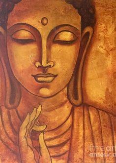 Buddha Painting - Peace Within by Pratibha Madan Art Buddha, Buddha Drawing, Buddha Artwork, Buddha Canvas, Ganesha Painting, Buddha Painting, Painting Art, Coffee Painting Canvas, Canvas Art