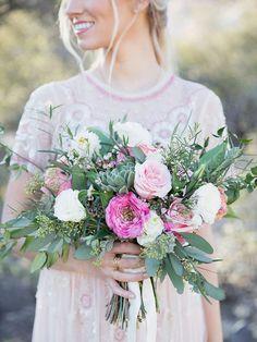 pink ranunculus + rose bouquet