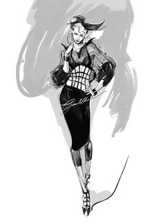 Sketch by Jean Paul Gaultier for Madonna's costumes in 2012 #fashion #illustration