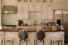 Gorgeous back splash!!!  Kinda country but kinda glam! Mixed Cloud Glimmer Glass tile