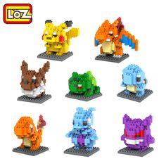 LOZ Mini Poket Monster Pikachu Toys Charmander Bulbasaur Squirtle Mewtwo Eevee Anime Model Blocks