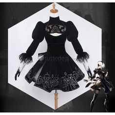 Nier Automata 2B Black Gothic Cosplay Costume for your show :)