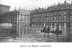Crue de Paris en 1910 - Arrivée des Députés à la Chambre.