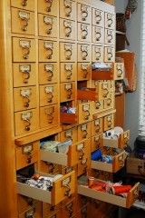 Library Card Catalog used for sewing/crafting supplies!!! Love this!!!!
