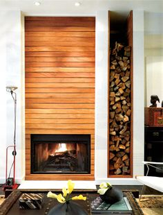 Love this design with the firewood on the side--Teak Fireplace