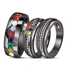 1.25 CT 14K Black Gold FN Multi-Color Gemstone His & Her Navratna Trio Ring…