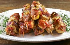 Prosciutto is my secret ingredient for making moist & tasty kabobs. The combination of chicken, peaches & prosciutto makes particularly flavorful kabobs.