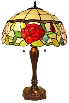 Amora Lighting Tiffany Style AM069TL16 Floral Table Lamp 24 In Tall