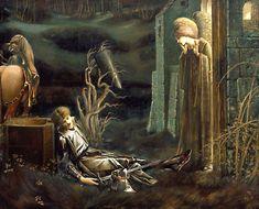 pre-raphaelisme:  Lancelot at the Chapel of the Holy Grail by Edward Burne-Jones, 1896