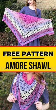 crochet Amore Shawl free pattern - easy crochet shawl pattern for beginners Crochet Prayer Shawls, Crochet Shawl Free, Crochet Shawls And Wraps, Crochet Scarves, Crochet Clothes, Knit Shawls, One Skein Crochet, Easy Crochet, Crochet Things