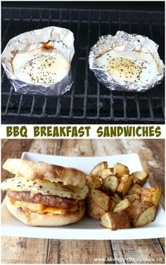 BBQ Breakfast Sandwiches Recipe - Grilled Fried Eggs on the barbeque! #CanadianEggs