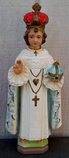 Vintage Infant Of Prague Chalk-Ware Plaster Statue. $12.00, via Etsy.