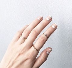 Gorgeous Creative Negative Space Nails Manicure worn by @jess_hannah on Instagram. Love the rings too.