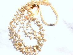 Vintage Shell pearl Necklace Resort Beach Spring by JewlsinBloom
