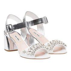 Miu Miu - Sandals - White + Silver - United States - 5X333A_3H24_F0J36_F_065