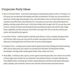 Are you considering a variety of corporate party ideas, and are you trying to plan a menu to match those ideas? If so you may want to consider some of these popular corporate party themes, and plan your party food accordingly. http://enlightenme.com/corporate-party/  ***************************************** Kevin Bethea – Corporate Magician & Illusionist www.ktbmagic.com For Booking Availability, Call (856) 728-8733  #kevinbethea #magician #illusionist #NewJersey #corporatemagiciannewjersey…