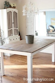 10 DIY Farm Tables - like the wood on white weathered finish, and also the table by Deckroid