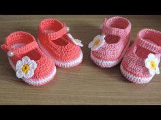 Crochet Easy Baby Girl Shoes - We Love Crochet - Diy Crafts Crochet Baby Booties Tutorial, Crochet Baby Sandals, Crochet Baby Beanie, Booties Crochet, Crochet Shoes, Baby Boots, Baby Girl Shoes, Baby Knitting Patterns, Baby Patterns
