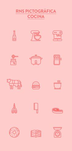 RNS Pictográfica Cocina (Kitchen) is the second typeface belonging to the series and related to the culinary arts and food world. It is comprised of over 220 pictograms and icons, with rounded corners and light weight and produced from a modular grid. Web Design, Icon Design, Logo Design, Symbol Design, Flat Design, Branding, Meat Icon, Kitchen Icon, Kitchen Modern