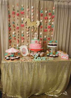 Gold carousel birthday party! See more party ideas at CatchMyParty.com!