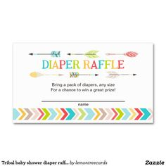 Tribal baby shower diaper raffle tickets / games Double-Sided standard business cards (Pack of 100)