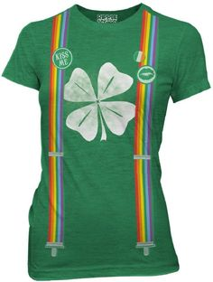 AmazonSmile: St Patricks Day Leprechaun Costume with Rainbow Suspenders Juniors Green Heather Tee: Clothing