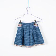 Wenderock Jeans-Baumwolle,SALE,Rock mit Taschen,Gummizug,weicher Jeansstoff,dünne Baumwolle,Blumenmuster,bedruckter Jeansstoff,blau,rot,gelb von kostuemberlin auf Etsy