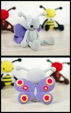 Mesmerizing Crochet an Amigurumi Rabbit Ideas. Lovely Crochet an Amigurumi Rabbit Ideas. Crochet Butterfly Pattern, Crochet Bee, Crochet Baby Toys, Crochet Animal Patterns, Stuffed Animal Patterns, Crochet Patterns Amigurumi, Crochet Gifts, Cute Crochet, Amigurumi Doll