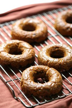 Cinnamon Glazed Pumpkin Doughnuts, baked perfection & loaded with pumpkin. Gluten-free, vegan, & paleo, the flavors of fall will keep everyone warm & cozy! Best Gluten Free Desserts, Allergy Free Recipes, Gluten Free Breakfasts, Gluten Free Baking, Healthy Eating Recipes, Whole Food Recipes, Vegan Recipes, Dessert Recipes, Paleo Vegan