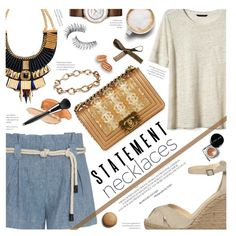 Collared! Statement Necklaces by federica-m on Polyvore featuring Banana Republic, L'Agence, Espadrilles, Bobbi Brown Cosmetics, Trish McEvoy, Chanel, BananaRepublic, citizen, statementnecklaces and lagence