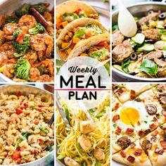 Weekly Meal Plan #50! A meal plan to help you keep things tasty each week, including teriyaki shrimp broccoli, chipotle tacos, balsamic pork loin, and more!   HomemadeHooplah.com