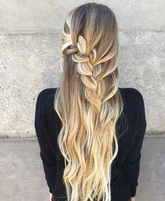 Half Updo With A Chunky Waterfall Braid, prom hairstyle for long hair, half up h. Half Updo With A Box Braids Hairstyles, Prom Hairstyles For Short Hair, Romantic Hairstyles, Down Hairstyles, Hairstyle Ideas, Wedding Hairstyles, School Hairstyles, Updo Hairstyle, Kinky Hairstyles