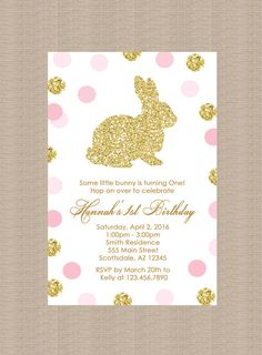 Gold Bunny Rabbit Birthday Party Invitation, Polka Dots, Gold Glitter, Easter Birthday Party Invitation, Printable