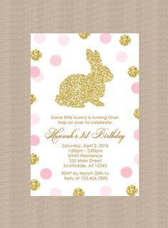 Gold Bunny Rabbit Birthday Party Invitation Polka by Honeyprint