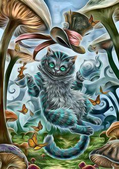Art Alice In Wonderland Artwork, Cheshire Cat Alice In Wonderland, Alice And Wonderland Quotes, Cheshire Cat Art, Cheshire Cat Quotes, Cute Wallpaper Backgrounds, Disney Wallpaper, Gato Alice, Tattoo Gato