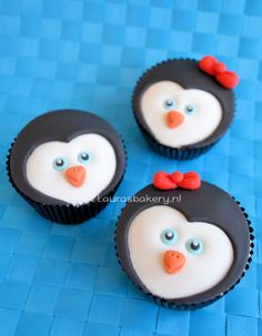 Pinguïn cupcakes - penguin cupcakes how to - Laura's Bakery