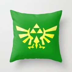 The Legend of Zelda Triforce Yellow Throw Pillow by foreverwars - $20.00