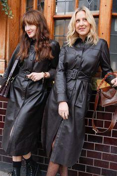 Leather Shirt Dress, Midi Shirt Dress, Leather Dresses, Aventura Mall, Long Leather Coat, Cute Coats, Fashion Forecasting, Stockings Heels, Rain Wear